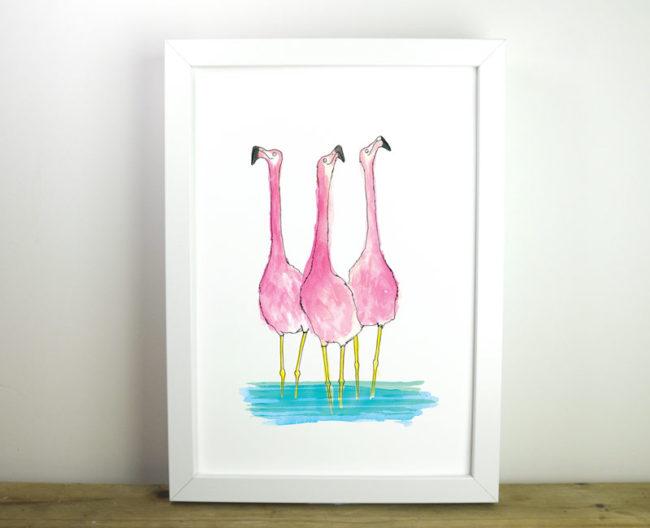 flamingo giclee print